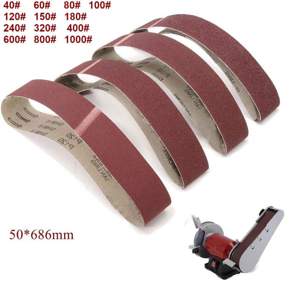 FANLLOOD Abrasive Belt 10Pack 686 * 50mm Sanding Belts 40-1000 Grit Aluminium Oxide Sander Sanding Belts Polishing Machine Abrasive Tools,13Pcs Every Grit 1Pc 10pcs 40 Grit