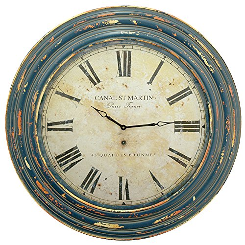 Three Hands Corporation 62416 Wood Frame Wall Clock with Canal St. Martin Face, - Martin Frame
