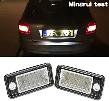 2Pcs Canbus LED Rear License Plate Lights Lamp White For Audi A4 Q7 RS4 A3 A6 S4