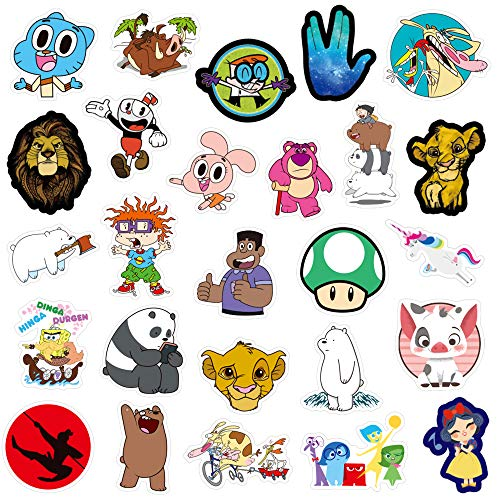 QWDDECO Cute Sticker Pack [101 pcs] Vinyl Stickers for Laptop,Skateboard,Bike,Luggage,PS4,Xbos one,iPhone-Party Favors for Teens,Boys and Girls-Graffiti Decal-Waterproof ()