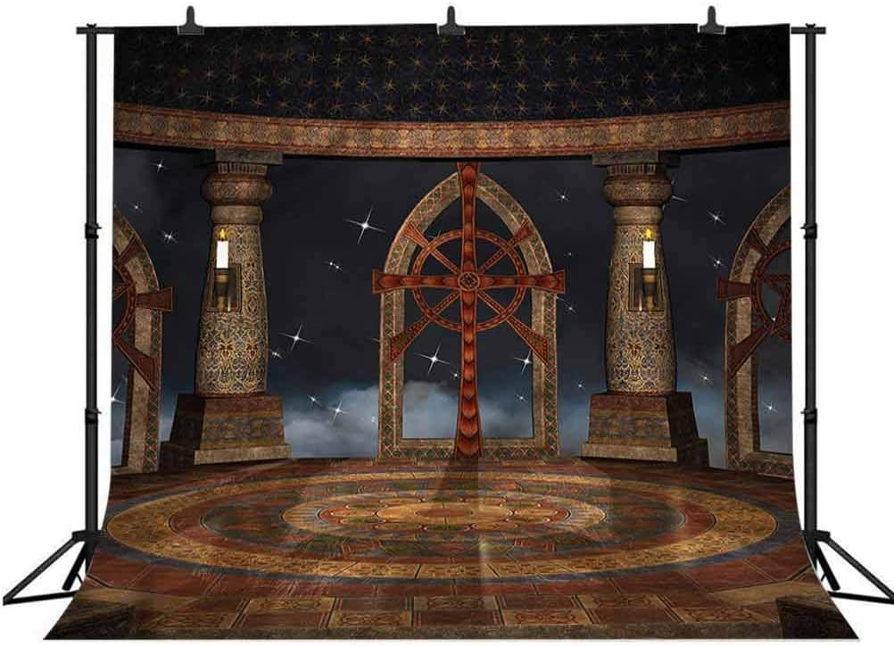 8x8FT Vinyl Photography Backdrop,Medieval,Fantasy in Sky Photoshoot Props Photo Background Studio Prop