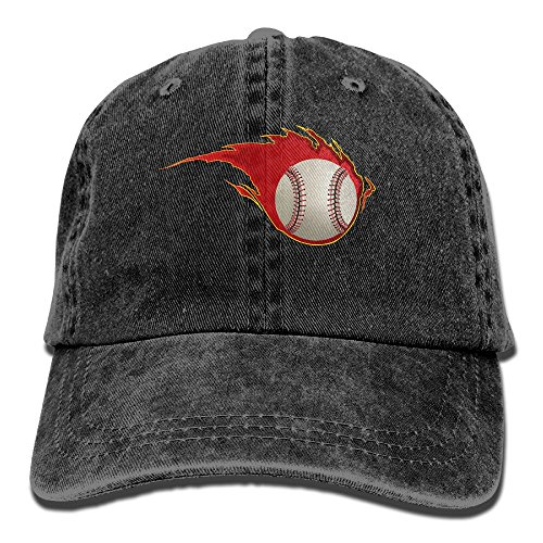 Qbeir Fireball Softball Adjustable Adult Cowboy Cotton Denim Hat Sunscreen Fishing Outdoors Retro Visor -