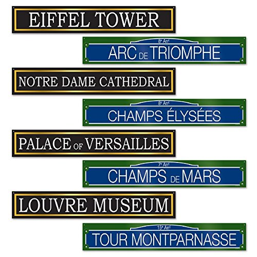 Club Pack of 48 Historic French Street Sign Cutout Parisian Party Decorations 24