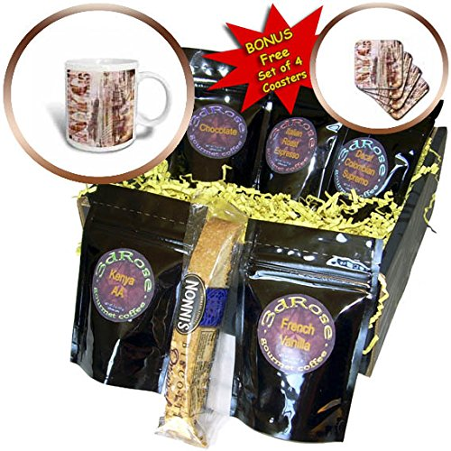 3dRose Andrea Haase Art Illustration - Modern New York Urban City Art With Typography - Coffee Gift Baskets - Coffee Gift Basket (cgb_268113_1)
