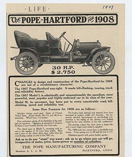 1908 Pope Hartford Motor Car Hartford CT Auto Ad Arnica Tooth Soap