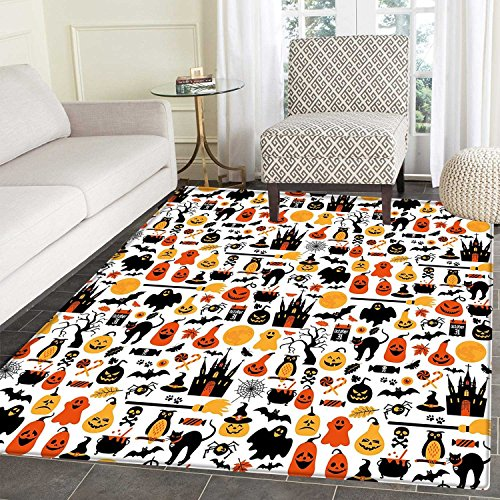 Halloween Anti-Skid Area Mat Halloween Icons Collection Candies Owls Castles Ghosts October 31 Theme Soft Area Mats 4'x6' Orange Yellow Black
