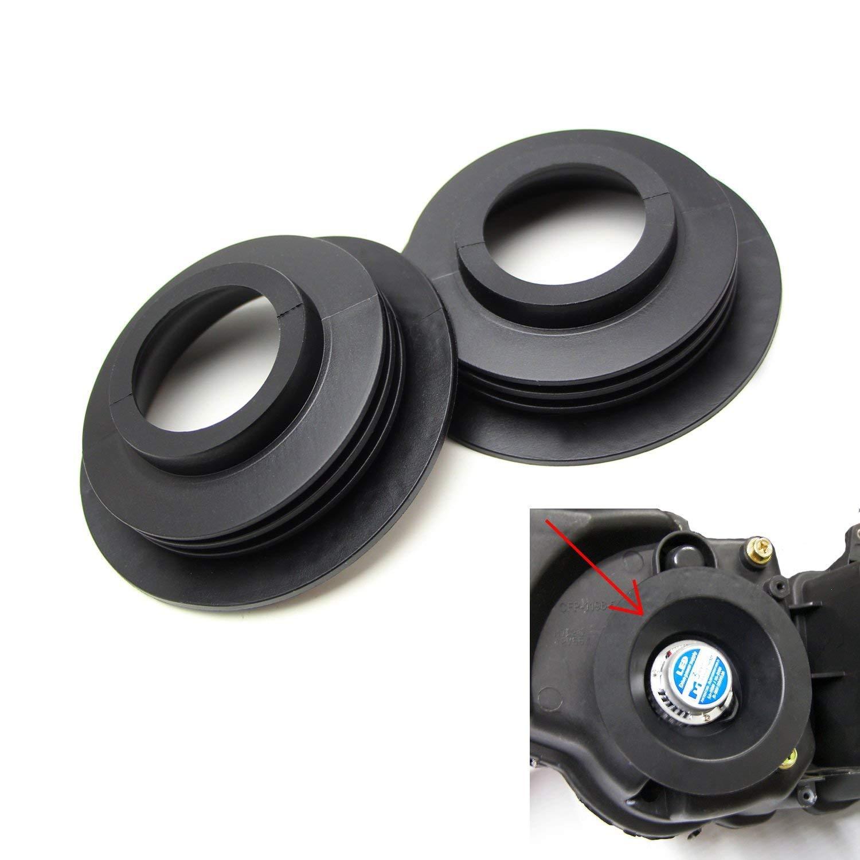 Aftermarket Headlamp or Retrofit iJDMTOY 2 Universal Rubber Housing Seal Caps For Headlight Install Xenon Headlight Kit