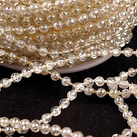 Dekoband mit Perlen in 3 und 8mm Perlenkette Meterware Perlenband 1 Meter