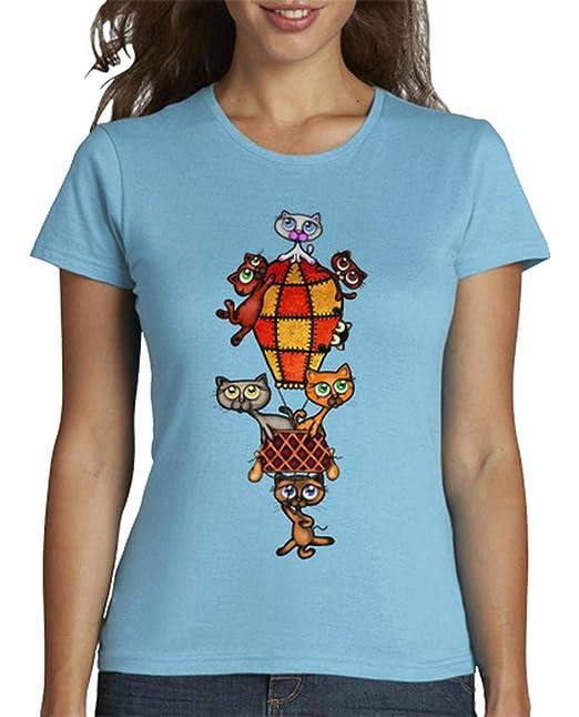 latostadora - Camiseta Gatos en Globo para Mujer: constru.imagen: Amazon.es: Ropa y accesorios