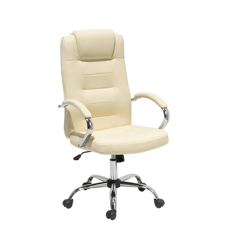 Poltrona relax da ufficio in pelle sintetica beige gambe cromate DIAMOND II Beliani