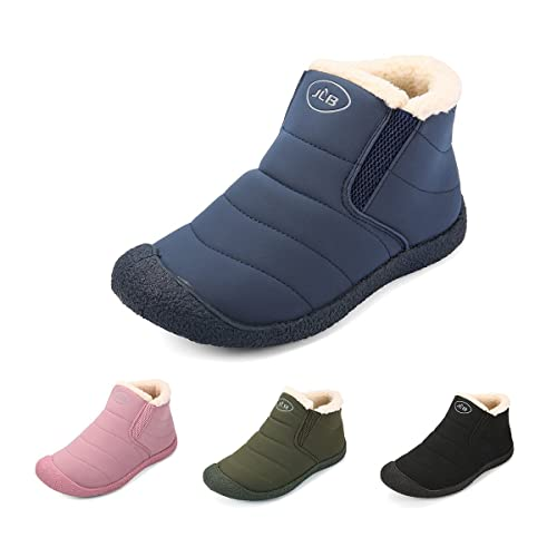 b0ee1f9aff gracosy Women Snow Boots Waterproof Fur Lined Winter Ankle Short Boots Slip  On Lightweight Anti-Slip Boots Casual Comfortable Outdoor Flat Walking ...