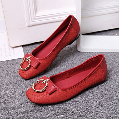 Leather 0n Summer Red Spring Shoes Flats Slip Leisure Walking Knot Miyoopark Casual qEStP1n0