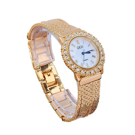 Relojes Mujer Luxe decorativo elegante cuarzo analógico reloj pulsera – oro