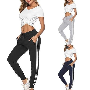 Mujer Alto Cintura Yoga Raya Deporte Casual Suelto Largo ...