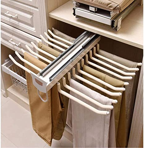 pull out trousers rack 22 arms steel pull out pants rack pants hanger bar clothes organizers for space saving and storage