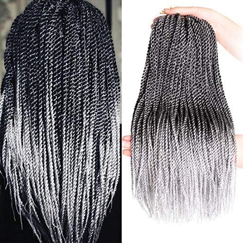 DingDian Senegalese Twists Crochet Hair 6 pcs Braiding Hair Extensions High Temperature Fiber 18 inch Small Havana Mambo Twist Synthetic Hair Extensions (T1B/Grey)