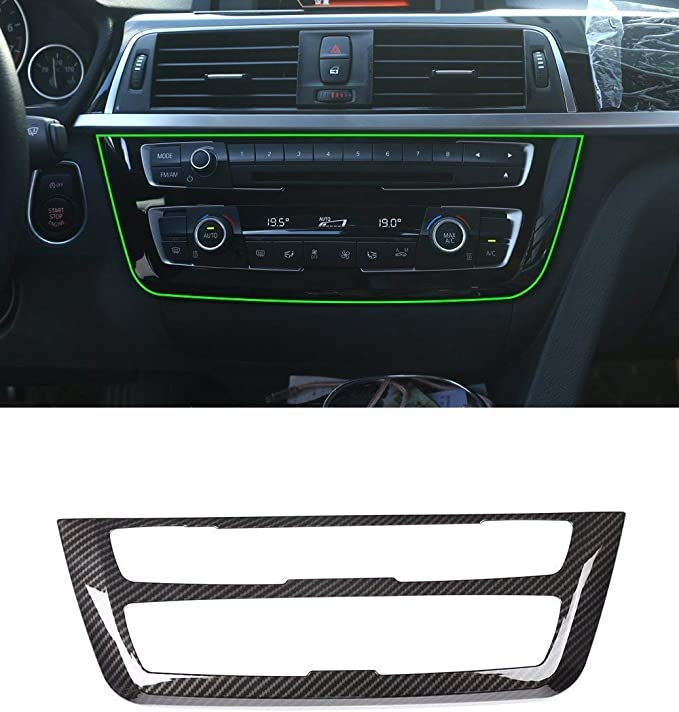 KIMISS Premium Steering Wheel Button Frame Carbon Fiber Cover Trim Sticker for F30 3 Series 2013-2018