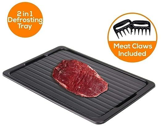 Bandeja de horno 2 en 1 con bandeja de goteo y alimento de carne y congelado rápido, no necesita electricidad, productos químicos o microondas, ...