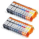 INKUTEN (TM) Compatible Ink Cartridge Replacement for Canon PGI-225 CLI-226 (4 Large Black, 4 Cyan, 4 Magenta, 4 Yellow, 4 Small Black) - 20 Pack