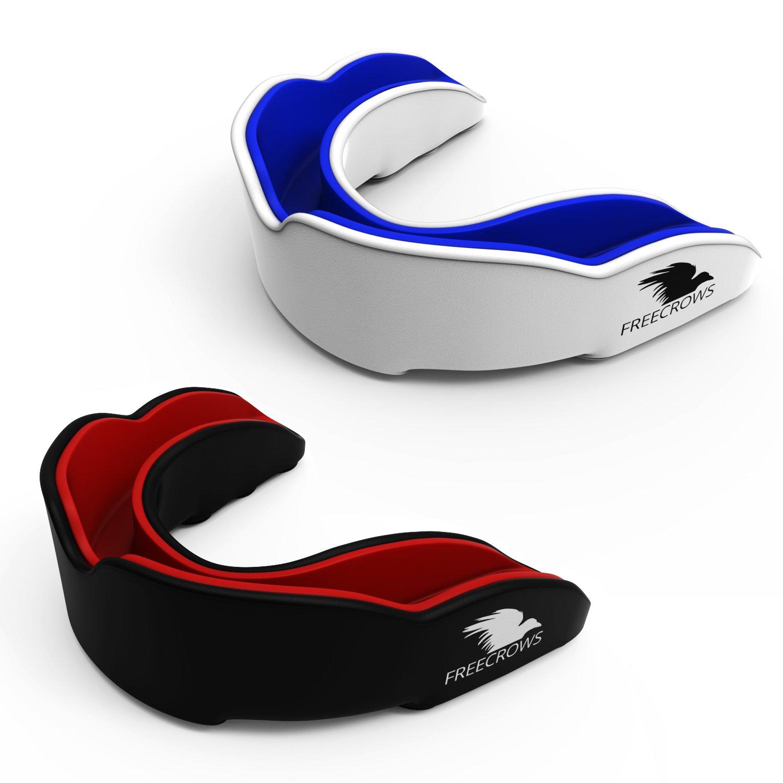 FREECROWS - (2x) - Protector bucal - Protector de encías - Protección de los dientes para todos los deportes y juegos de contacto - Protección de las encías para Lacrosse Boxeo Rugby MMA Hockey Fútbol americano Artes marciales, etc. - 2 protectores bucales