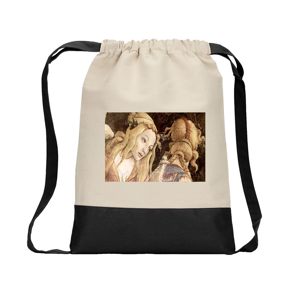 Sistine Chapel Moses #2 (Botticelli) Canvas Backpack Color Drawstring - Black