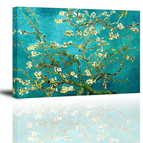 Art Painting Flower Floral (Almond Blossom Canvas Wall Art, Van Gogh Famous Flowers Oil Paintings Reproduction, Teal Floral Canvas Prints for Bedroom (Water Proof Artwork, Ready to Hang, 1