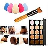 Hosaire 15 Colors Makeup Concealer Contour Palette + Water Sponge Puff + Makeup Brush