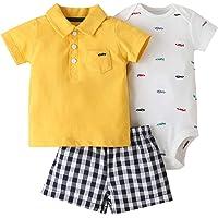 3 Paquetes Bebé Niños Pijama Atuendo Juegos de Ropa, NiñIto Camiseta + Pantalones Cortos + Body Conjunto de Ropa