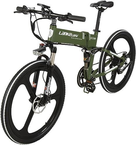lanke Leisi 26 pulgadas Folding eléctrico de bicicleta de 7 velocidades Shimano Full Suspension MTB Montaña