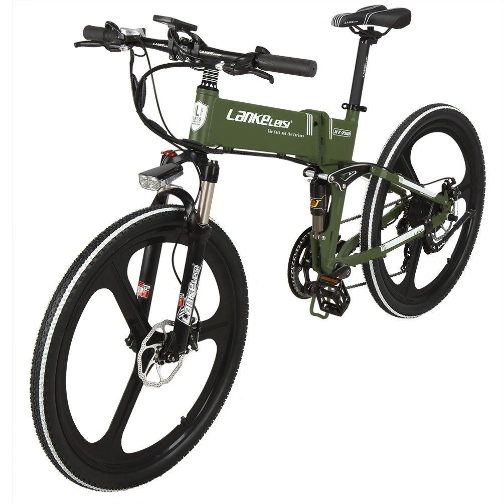 Lankeleisi XT750 - Bicicleta eléctrica con suspensión total - 26 pulgadas, 48 V, 7 velocidades, batería de litio - Motor eléctrico de 240 W, Armée verte: ...