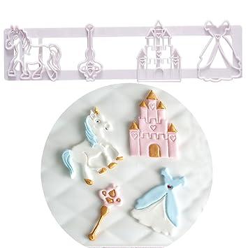 La princesa easyist unicornio Cookie Cutter Set, include castillo princesa falda varita mágica de Troya molde para Cupcake decoración: Amazon.es: Hogar