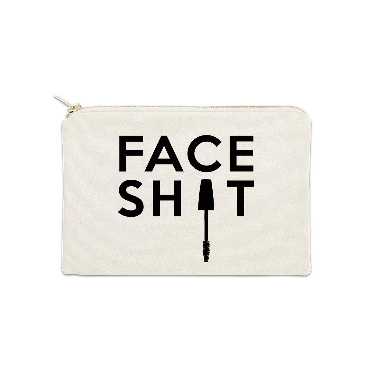 Face Sht Funny 12 oz Cosmetic Makeup Cotton Canvas Bag - (Natural Canvas)