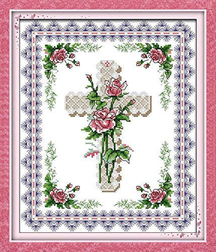 "Good Value Cross Stitch Kits Beginners Kids Advanced -Rose &Cross 11 CT 14""X 17"", DIY Handmade Needlework Set Cross-Stitching Accurate Stamped Patterns Embroidery Home Decoration Frameless"
