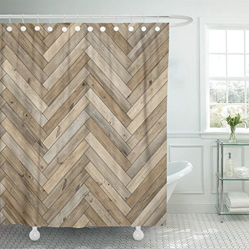 Emvency Shower Curtain Beige Chevron Wood Parquet Herringbone Old Arrow Ash Beechwood Waterproof Polyester Fabric 72 x 78 Inches Set with Hooks