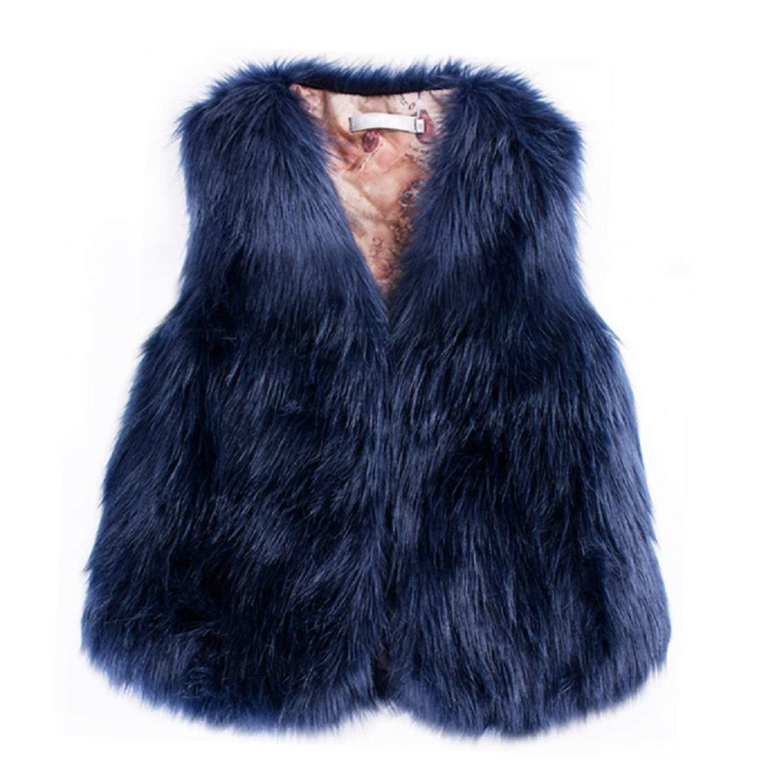Womens Waistcoat Sleeveless Faux Fur Vest Coat Solid Color Winter Loose Outwear (2XL, Navy)