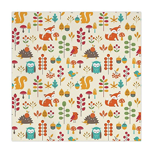 iPrint Polyester Square Tablecloth,Children,Cute Kids Autumn Pattern with Owl Fox Squirrel Birds Animal Leaves Artsy Print,Multicolor,Dining Room Kitchen Picnic Table Cloth Cover,for Outdoor Indoor - Squirrel Proof Bird Table
