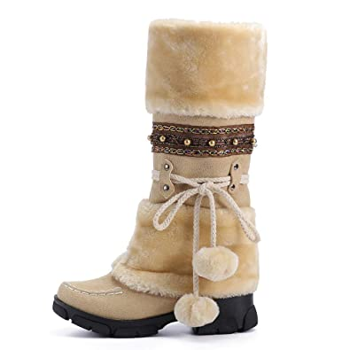 b6a50c16321 Knee High Snow Boots Women Ladies Snow Winter Ankle Wedge Low Heeled  Platform Black Suede Lace