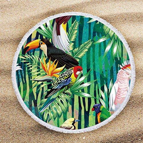 - ARIGHTEX Green Tropical Beach Towel Birds Parrot Beach Towel Jungle Leaves Hawaii Beach Towels Beaches Decoration