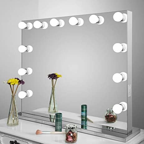 aoleen frameless vanity mirror with light hollywood makeup lighted mirror with dimmer free bulbs gift