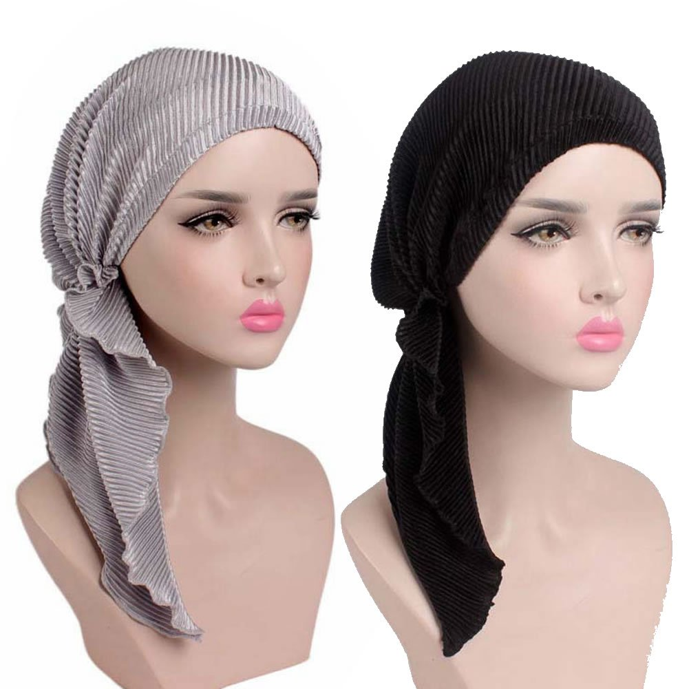 Womens Chemo Hat Pre Tied Ruffle Head Scarves Turban Headwear for Cancer (2pack Black+Silver)
