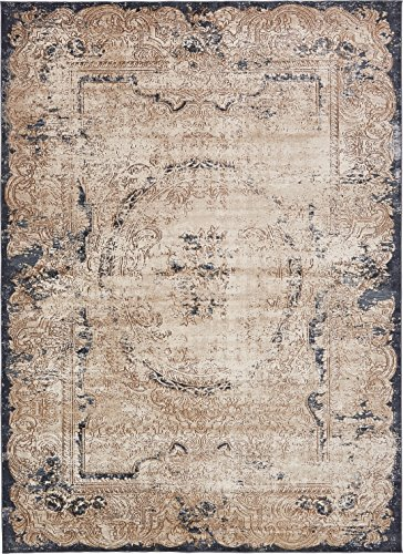 Texture Modern Carved Vintage Traditional Look & Feel Cream 9' x 12' Ephesus Collection Area Rug - Classic Rug Kashan Beige