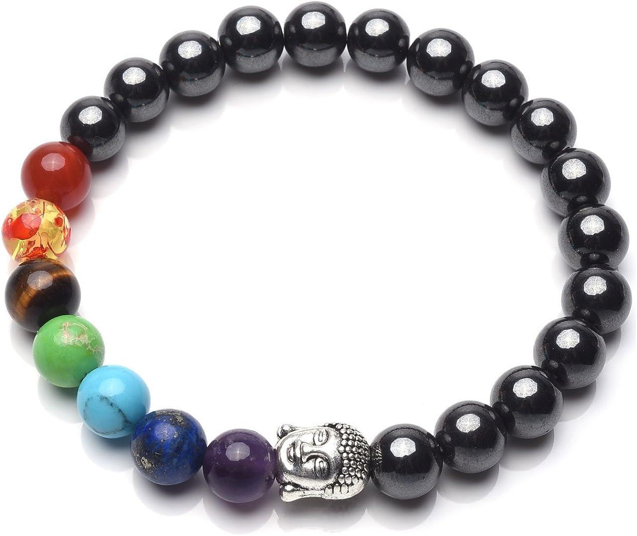 CrystalTears - Pulsera de cuentas de hematita con cristales curativos de los 7 chakras, pulsera para terapia magnética con cabeza de buda, para yoga, meditación