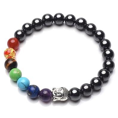 CrystalTears 7 Chakra Hematite Bracelet Healing Crystals Magnetic Therapy w/ Buddha Head Yoga Meditiation WFOk3WyDqL
