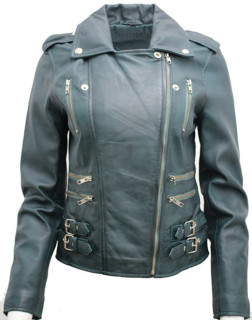 067490948c Ladies Teal Real 100% Lamb Nappa Leather Biker Jacket at Amazon ...