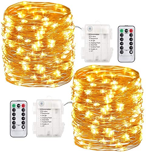 LITEPRO Fairy Lights Battery Operated 16.5ft 50 LEDs String Lights,Bendable Copper Lights, with Remote Control, Decorative Lights for Kid's Room, Patio, Garden, Party, (Warm White), 2 Pack,Waterproof