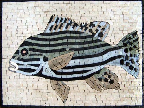 Hand Made Fish Marble Mosaic Decorative Wall Bath Pool