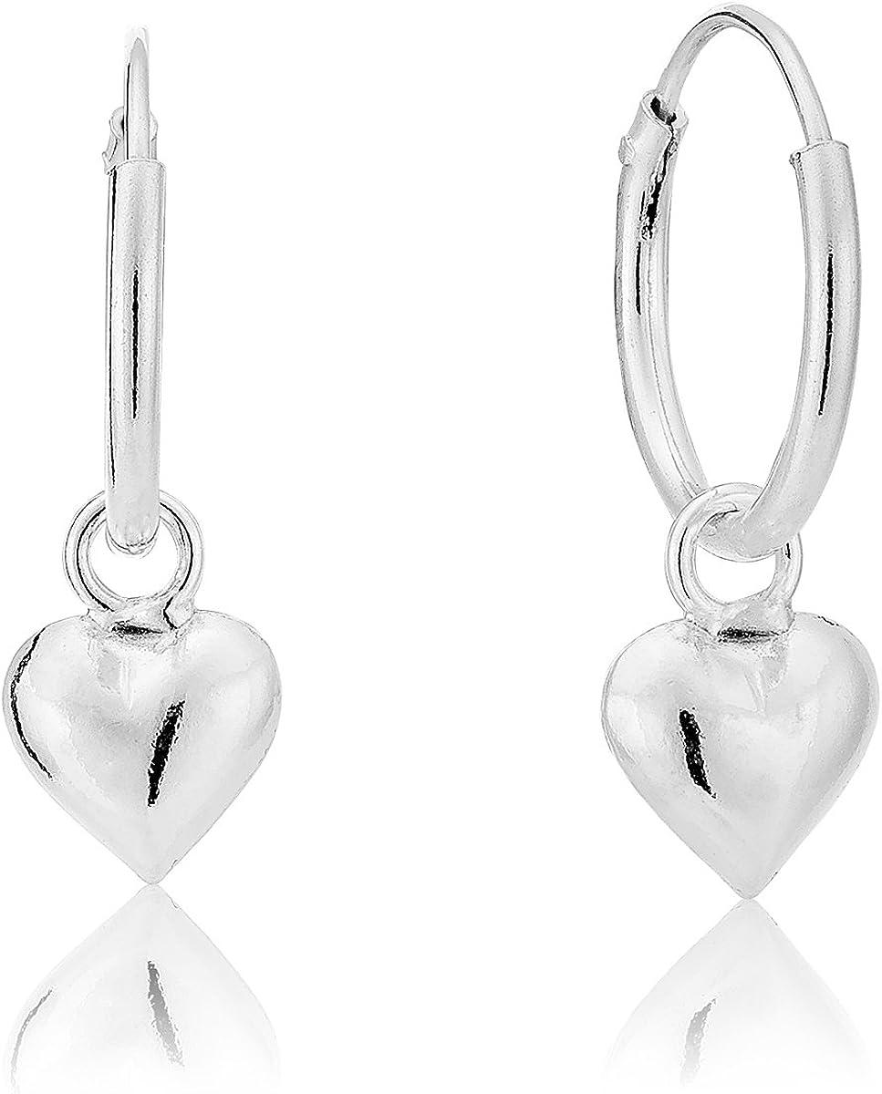 DTP Silver - Pendientes de Aro con Corazón hinchado - Plata de Ley 925 - Espesor 1.2 mm, Diámetro 12 mm