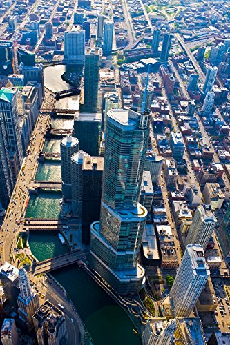 Posterazzi Poster Print Collection Aerial View of Trump Tower River Chicago Illinois USA Panoramic Images, (24 x 18), Multicolored