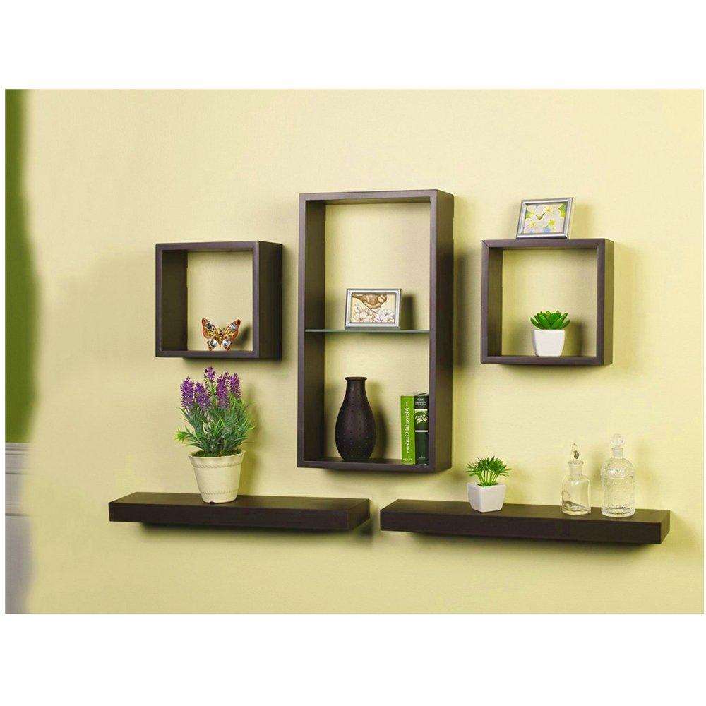 Amazon.com: Wall Shelfs Cube Set 5 Piece Decor Home or Office Modern ...