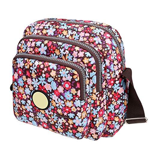 Women Lightweight Cross Body Bag Floral Print Square Nylon Shoulder Bag Outdoor (8.97 x 3.51 x 8.78 inch ( L x W x T ), Colorful Dreams) Floral Print Satchel